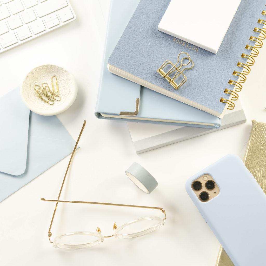 Keyboard, Notebooks, Glasses